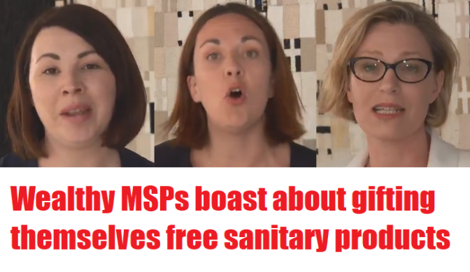 Feminist MSPs glazed with self-satisfaction as they hand themselves free fanny pads in Holyrood